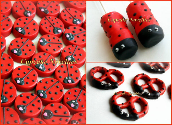 Ladybug Birthday Baby Shower Chocolate Oreos Cookies Pops Valentine's Day Edible Custom Gifts Cute Party Favors Ideas Ladybug Dessert Table