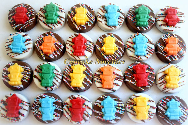 Robot Birthday Chocolate Oreos Cookies Pops Robot Cookies Nuts and Bolts Let's Go Nuts Robot Party Favor Boys Birthday Robot Party Edible