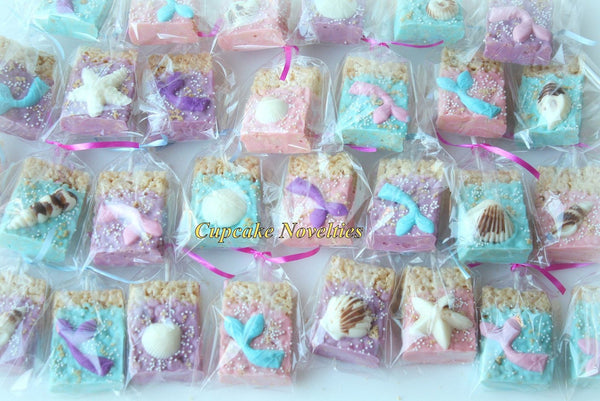 Mermaid Birthday Under the Sea Birthday Baby Shower Bridal Shower Seashell 12 Chocolate Dipped Rice Krispie Treats Ocean Beach Wedding Favor