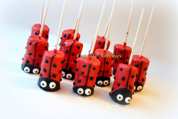 Ladybug Birthday Party Favors Dessert Chocolate dipped Rice KrispieTreats Valentines Day Edible Favor Cookies Ladybug Baby Shower Cute Ideas