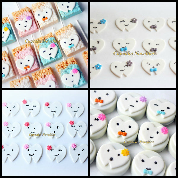 Dentist Gift Fondant Teeth Tooth Cupcake Toppers DIY Cupcakes Cake Dental Hygienist Assistant Tooth Fairy Dental Office Opening Party Favor