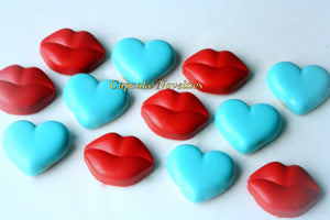 Hearts Cookies Valentine's Day Cookies Edible Valentines Gifts Love & Kisses Chocolate covered Oreos Kiss Me Valentine's Day Party Favors