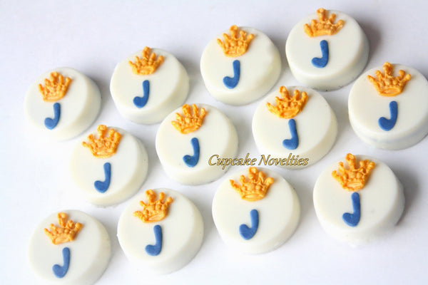 Royal Crown Prince Princess Birthday Monogram Tiara Girl Boy Birthday Gender Neutral Baby Shower Cookies Chocolate Oreos Party Favor Dessert