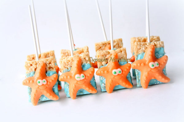 Starfish Cookies Under the Sea Party Under the Sea Birthday Baby Shower Starfish Chocolate Rice Krispie Treat Ocean Beach Wedding Favor Idea