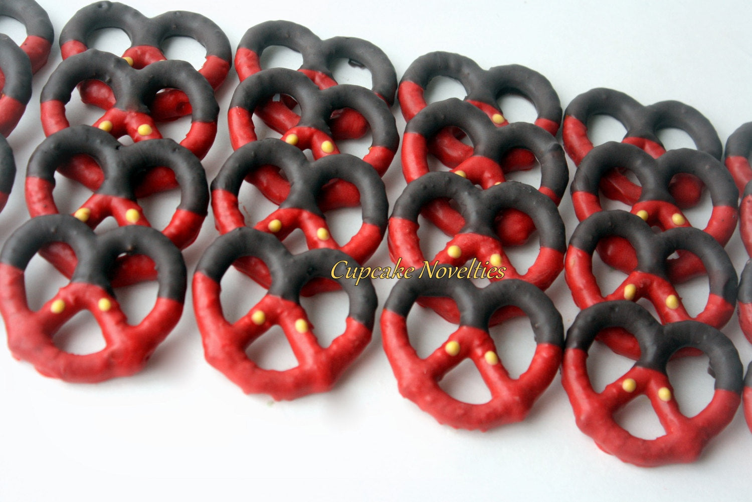 Red Black Yellow Buttons Boy Birthday Party Favors Boy Birthday Cookies Chocolate dipped Pretzels Outfit Cookies Dessert Table Treats Favors