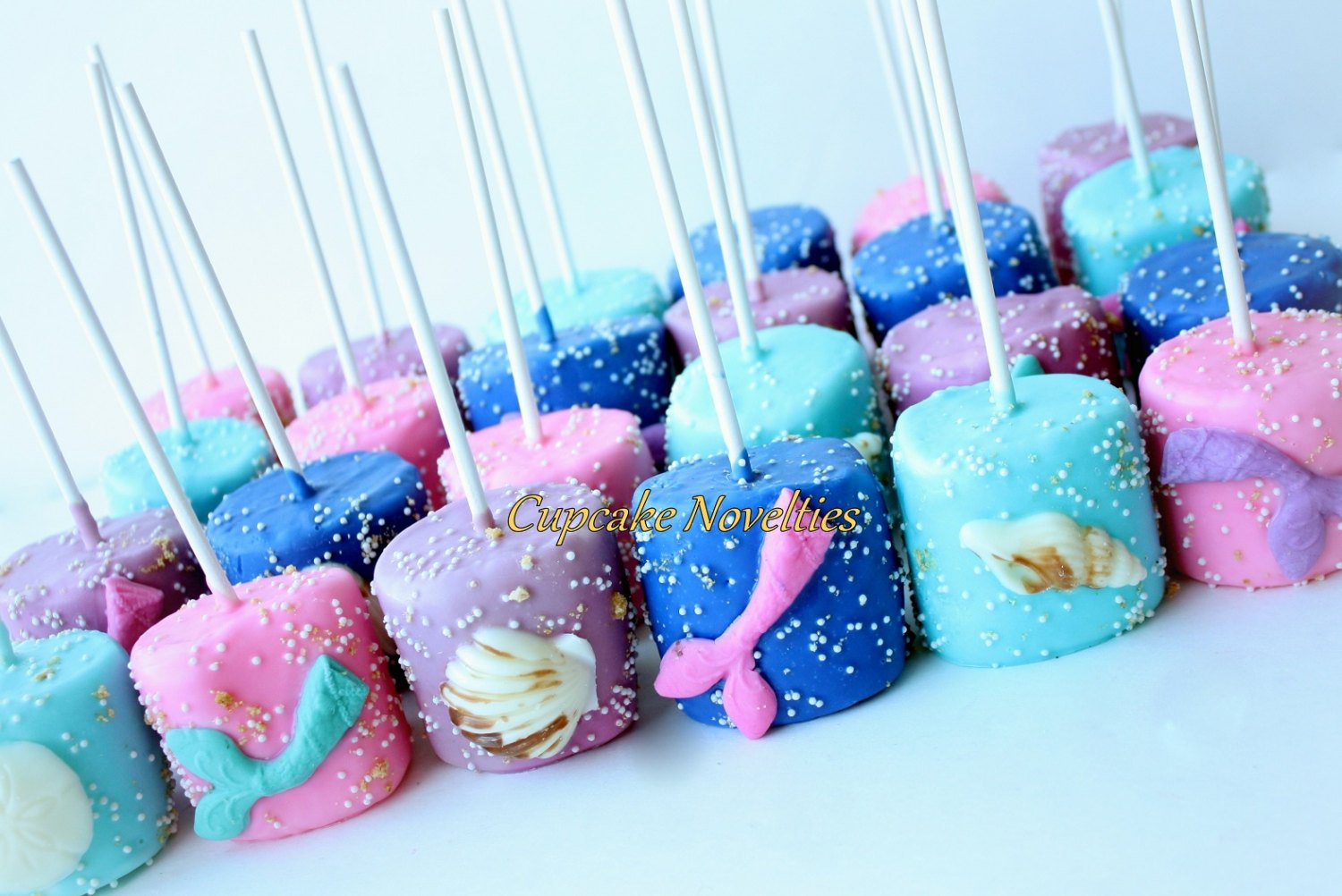 Mermaid Birthday Under the Sea Birthday Baby Shower Bridal Shower Seashell 12 Chocolate Dipped Marshmallows Pops Ocean Beach Wedding Favor