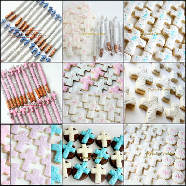 Baptism Favors First Communion Favors Christening Cookies Cross Chocolate Pretzels Cookies Gifts Edible Christian Baptism Favors Cross Doves