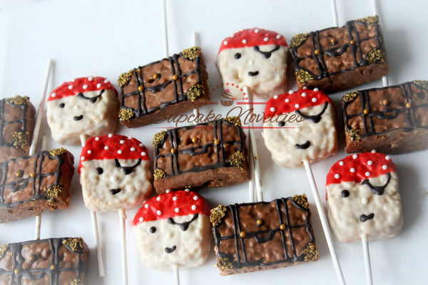Pirate Birthday Pirate Cookies Jake and the Neverland Pirates Birthday Favors Chocolate Rice Krispie Treats Ahoy Sailor Nautical Baby Shower