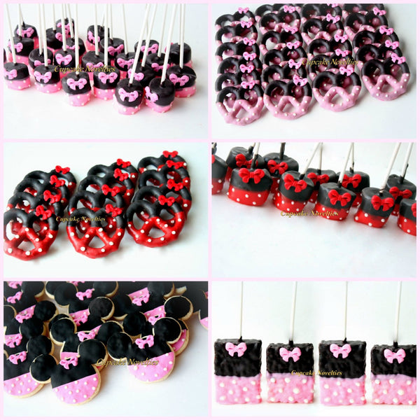 Red Black Birthday Party Favors Girl Mouse Cookies Red Black Chocolate Pretzels Polka Dot Bow Dessert Red Black Polka Dot Girl Birthday Idea