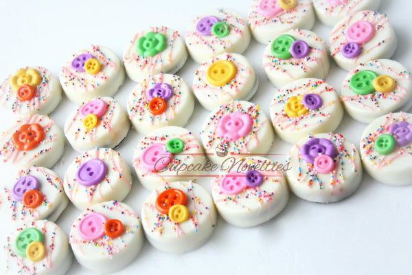 Button Birthday Cute as a Button Baby Shower Cookies Button Cookies Buttons Party Chocolate Oreos Sewing Cookies Seamstress Gift