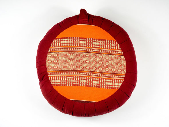 Zafu - Rouge avec motif orange
