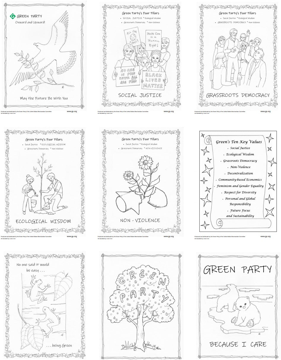 Pillars Values Coloring Pages Set 1 Download Green Party Of The United States Shop