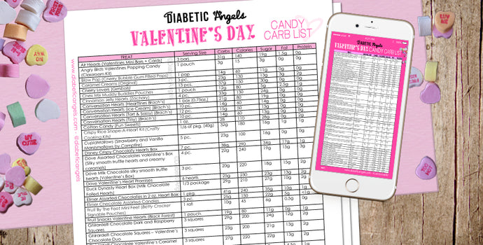 Diabetic Angels Candy Carb List: Valentines Day Edition!