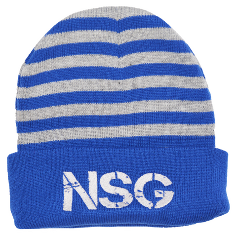 Blue Gray Beanie Never Stop Grindin Embroidery