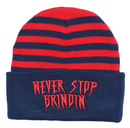 Never Stop Grindin Red 3D Puff Beanie at