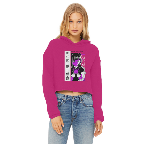 Shinjiru Anime - Purple Maid Ladies Cropped Raw Edge Hoodie