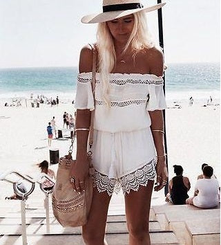 Beach Style Off shoulder Lace Romper