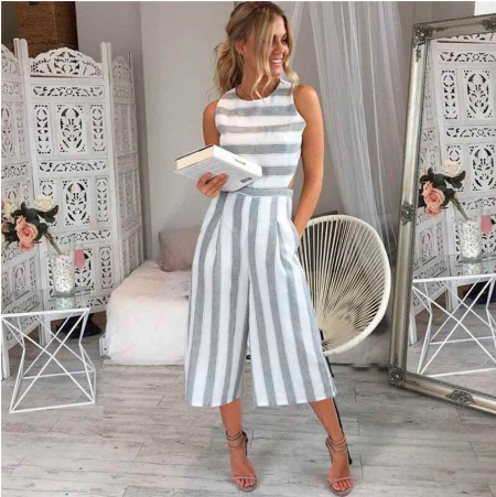 + Classic Stripped Jumpsuit Casual Loose Wide-Leg Trousers +