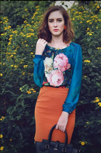 + Monet floral inspired silk blouse +