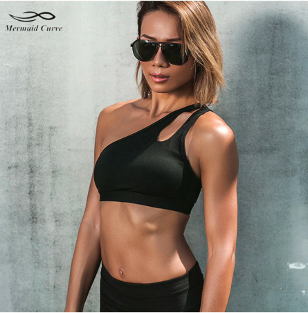 + An Oblique Shoulder strap sports bra ~ by Mermaid Curve +