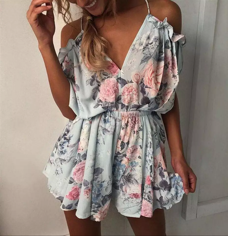 Sexy Bohemian Floral Romper