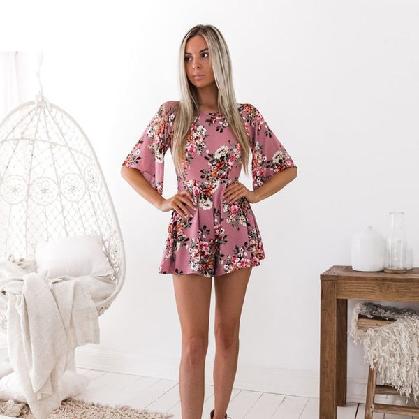 A Tickled Pink/Yellow Floral Romper