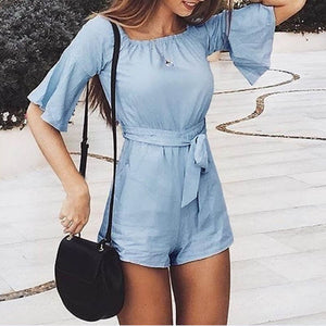 Baby Blue Romper Playsuit w/ Flare bell sleeves & shorts