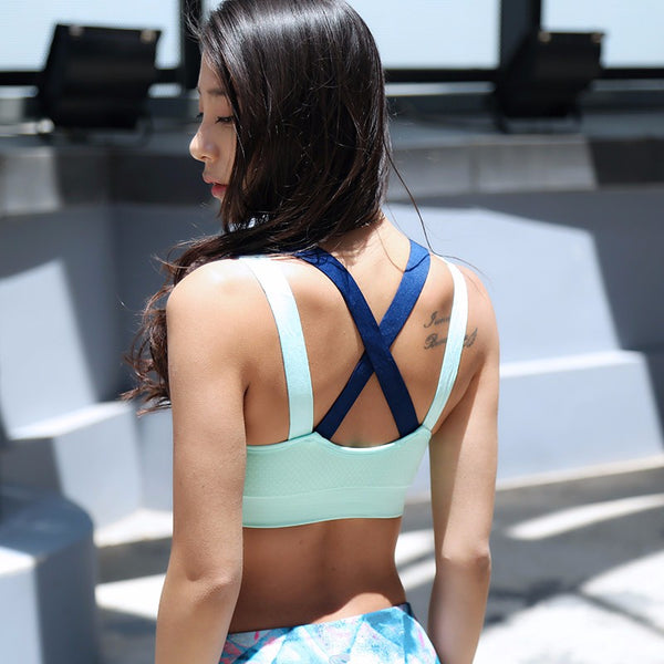 + Crossed-back Fitness/Yoga Sports Bra +