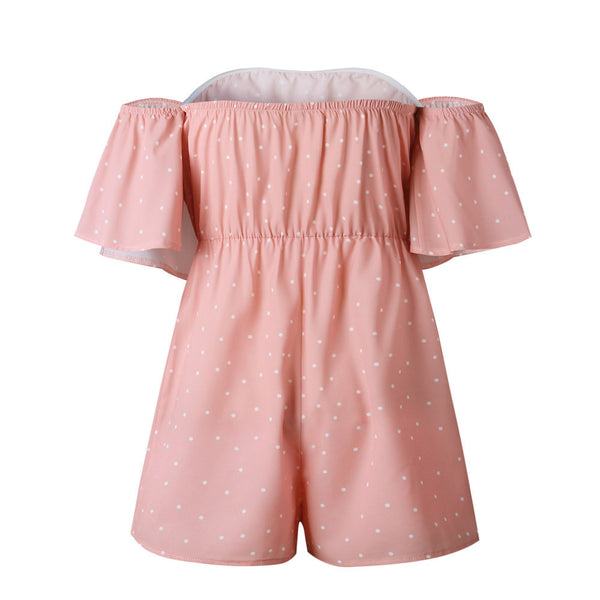 A Pink Romper with Dotted Prints
