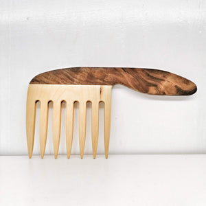 Handrcrafted Wooden Comb with Handle - Curly