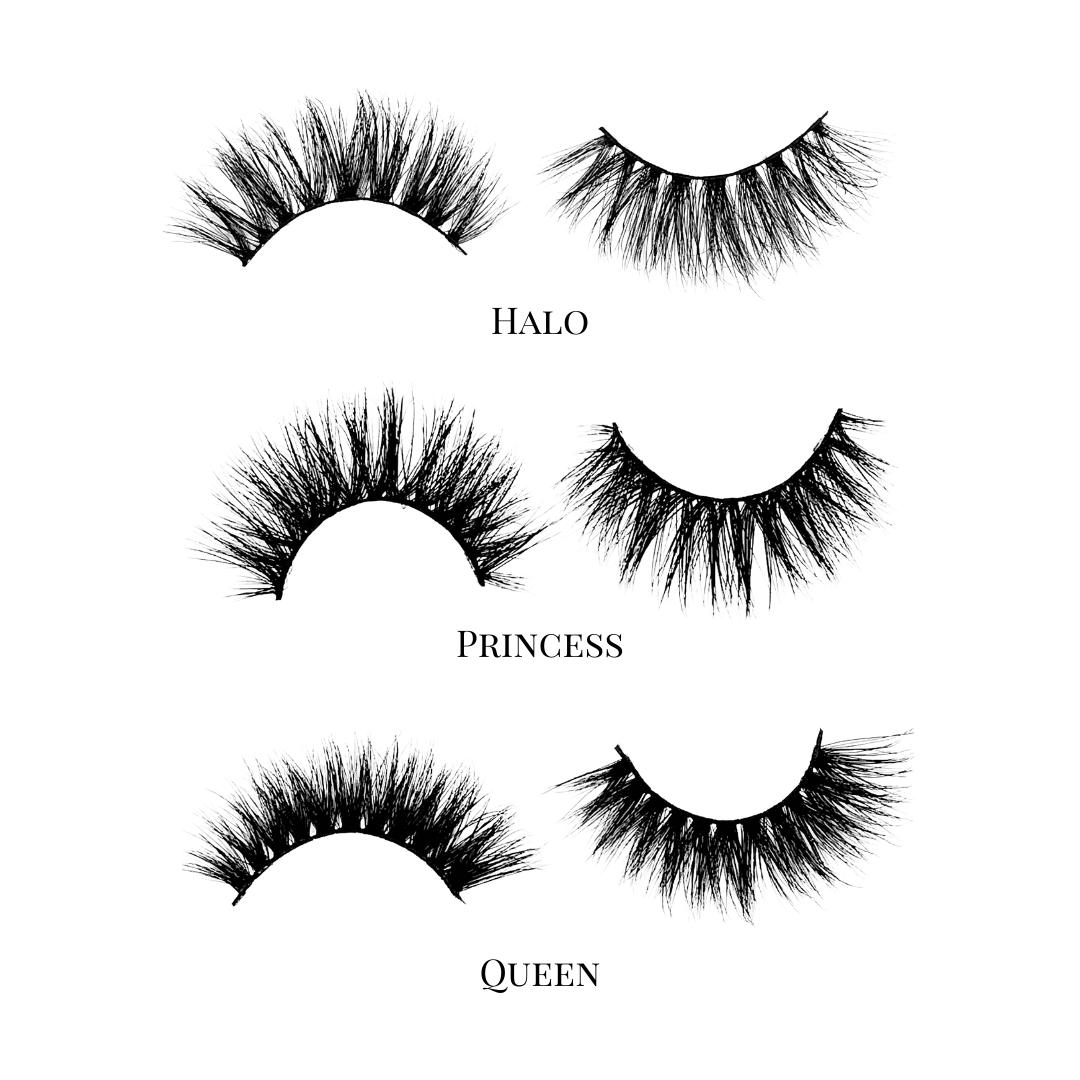 Dramatic (3-Pack)-High Volume-This set includes (3) 3D/5D Mink lashes: Halo Princess Queen Description Handmade, Cruelty-Free, Wear up to 30x Material: 100% Mink Band: Black Cotton Band Volume: High Volume Style: Dramatic, Long, Wispy, Cat-eye, Open-eye To Use: Measure and size your lashes by placing the false lash against your lash line where your natural lashes start. Using Mini Scissors, cut off the excess lash band length from the outer corners to ensure they fit properly. Apply a layer of L