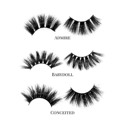 Pretty Gal (3-Pack)-Mega Volume-This set includes (3) 25mm mink lashes: Admire Babydoll Conceited Description Handmade, Cruelty-Free, Wear up to 30x Material: 100% Mink Band: Black Cotton Band Volume:Mega Volume Style: Extra Long, Dramatic, Open-eye, Cat-eye, Wispy To Use: Measure and size your lashes by placing the false lash against your lash line where your natural lashes start. Using Mini Scissors, cut off the excess lash band length from the outer corners to ensure they fit properly. Apply