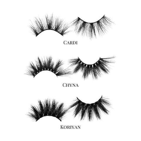 Alpha Femme (3-Pack)-Mega Volume-This set includes (3) 25mm mink lashes: Cardi Chyna Koriyan Description Handmade, Cruelty-Free, Wear up to 30x Material: 100% Mink Band: Black Cotton Band Volume:Mega Volume Style: Extra Long, Dramatic, Wipsy To Use: Measure and size your lashes by placing the false lash against your lash line where your natural lashes start. Using Mini Scissors, cut off the excess lash band length from the outer corners to ensure they fit properly. Apply a layer of Lash Adhesive