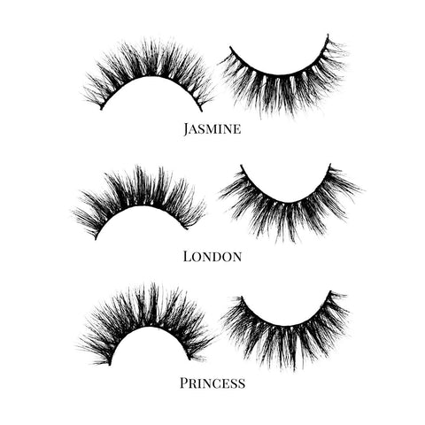 Best Sellers (3-Pack)-Medium Volume-This set includes (3) 3D Mink lashes: Jasmine London Princess Description Handmade, Cruelty-Free, Wear up to 30x Material: 100% Mink Band: Black Cotton Band Volume: Medium/High Volume Style: Flirty, Open-eye, Doll-eye, Wispy, Natural To Use: Measure and size your lashes by placing the false lash against your lash line where your natural lashes start. Using Mini Scissors, cut off the excess lash band length from the outer corners to ensure they fit properly. Ap