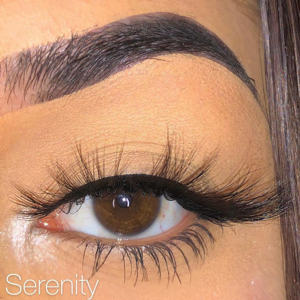 Wispy (3-Pack)-Medium Volume-This set includes (3) 3D/5D Mink lashes: Honey London Serenity Description Handmade, Cruelty-Free, Wear up to 30x Material: 100% Mink Band: Black Cotton Band Volume: Medium Volume Style: Flirty, Open-eye, Cat-eye, Doll-eye, Wispy, Natural To Use: Measure and size your lashes by placing the false lash against your lash line where your natural lashes start. Using Mini Scissors, cut off the excess lash band length from the outer corners to ensure they fit properly. Appl