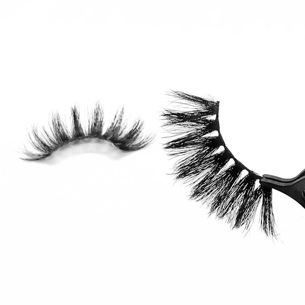"Babydoll-Mega Volume-Our ""Babydoll"" 5D mink lashes are 25mm long!!! The bigger the better right? Take your look/style to the next level with these dramatic lashes. Super fluffy, soft, and lightweight. Also available in our ""Pretty Gal (3-Pack)."" Try our ""Indespoiled"" lashes for a shorter look! Description Handmade, Cruelty-Free, Wear up to 30x Material:100% Mink Band: Black Cotton Band Volume: Mega Volume Style: Wispy, X-Long, Dramatic, Glam, Cat-eye To Use: Measure and size your lashes by placi"