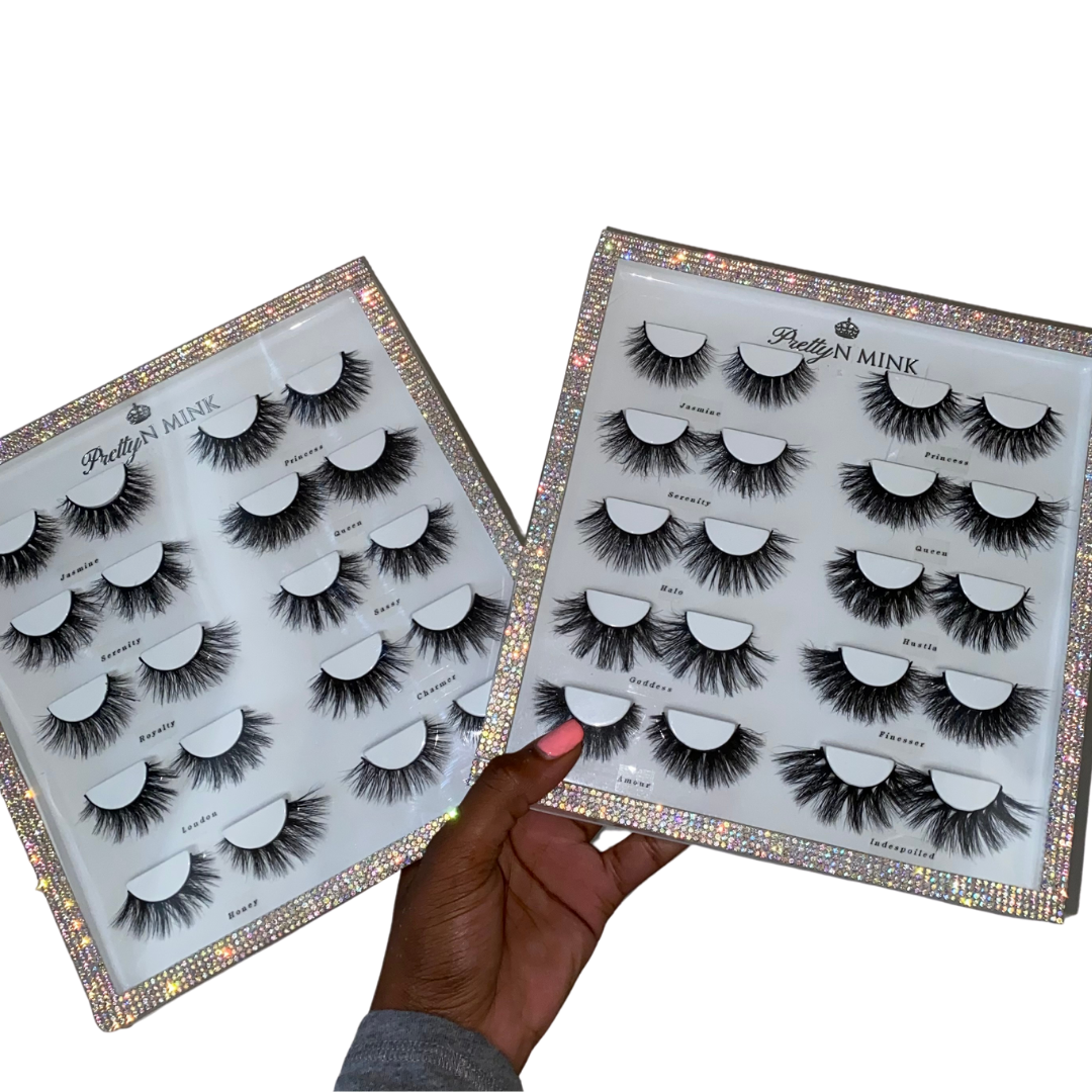 Lash Book (10-Pairs)-High Volume, Medium Volume-Each lash book includes (10) Luxury Mink lashes. The (Natural) Lash Book includes: Jasmine, Princess, Serenity, Queen, Royalty, London, Honey, Sassy, Charmer, and Butterfly The (Dramatic) Lash Book includes: Jasmine, Princess, Serenity, Queen, Halo, Goddess, Amour, Hustla, Finesser, and Indespoiled Description Handmade, Cruelty-Free, Wear up to 30x Material: 100% Mink Band: Black Cotton Band Volume: Medium/High Volume Style: Flirty, Open-eye, Doll-