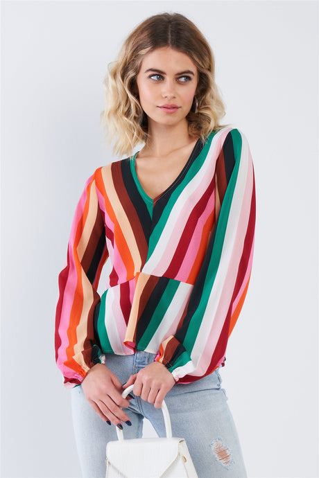 Colorful + Striped Long Sleeve Blouse