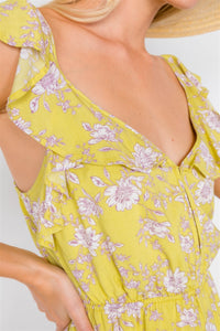 Melon Floral Print Ruffle V-neck Short Mini Romper