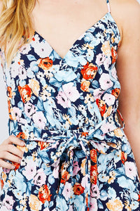 V-neck W/wrap Adjustable Spaghetti Straps Waist Belt Printed Knit Romper