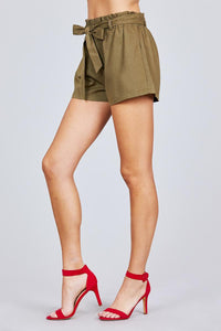 High Waisted + Bow Tie Paperbag Shorts