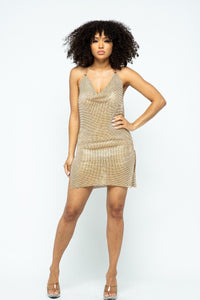 Shiny + Pure Metal Halter Neck Dress