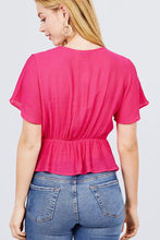 Load image into Gallery viewer, Short Sleeve V-neck Surplice Button Down Detail Ribbon Tie Back Shirring Woven Top