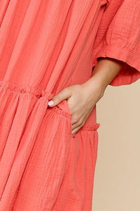 Bright Vintage Ruffles Pocket Swing Dress