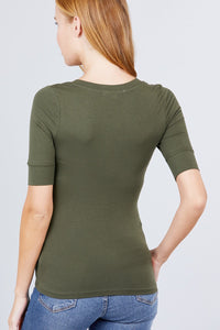 Half Sleeve V-Neck Top