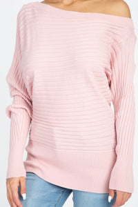 Faded Pink Off the Shoulder Sweater