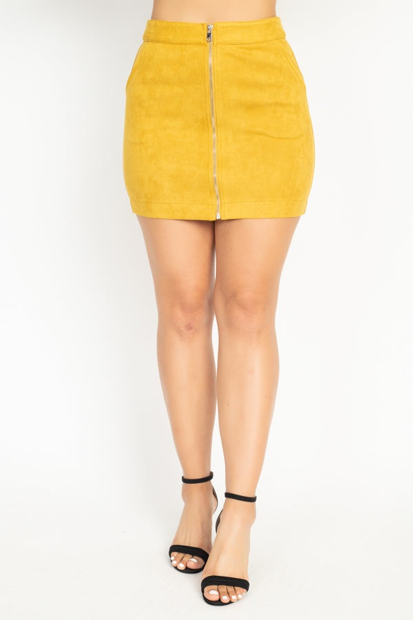 Front Zip Up High Waisted Mini Skirt