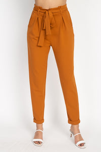 Elegant + High Waisted Bow Tie Trousers
