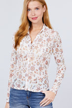 Load image into Gallery viewer, Long Sleeve + Mesh Button Up Blouse