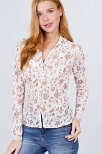 Long Sleeve + Mesh Button Up Blouse
